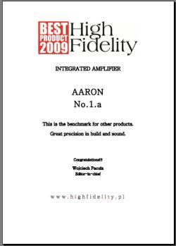 AARON No.1.a High End integrated amplifier. Award: BEST PRODUCT